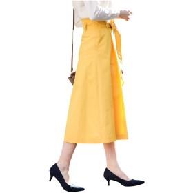 MK ミッシェルクラン(MK MICHEL KLEIN) 【洗濯機で洗える】リボンベルト付きミディスカート【イエロー/L】