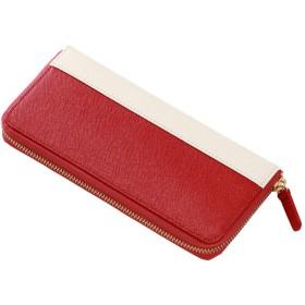 (コラーレ) corale 長財布 レディース 人気 大容量 ラウンドファスナー レザー ウォレット 本革 財布 ラウンド かわいい 11colors (ダークレッド×アイボリーホワイト)