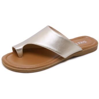[Date U] レディースサンダル 夏用 トングサンダル ビーチサンダル ミュール フラットシューズ ヒールなし 歩きやすい 親指リング 裸足 美脚 大きいサイズ お出かけ リゾート 滑り止め コンフォート 黄色 杏色 金色 黒色 24.5cm
