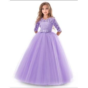 NNJXD 5-14 歳の女の子のレース・チュール・裾が床に着く・花嫁付き添いの少女・舞踏会・ガウンドレスサイズ(130)、7-8歳 パープル