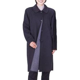 カシミヤ100%婦人リバー(一枚仕立て)コート グレー M