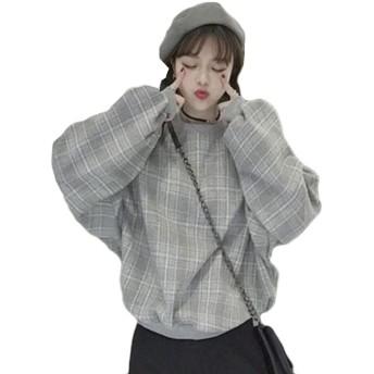 Alhyla レディース パーカー スウェット 春 秋 冬 長袖 カジュアル ゆったり 韓国 ファッション おしゃれ スウェット BF風 原宿系 チェック柄 トップスグレーbs3