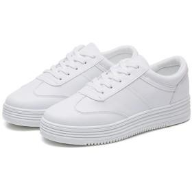 [GUREITO] レディース スニーカー 白 ローカット 厚底 インヒール 通気性 軽量 軽い 通学 スリッポン 靴 シューズ ホワイト