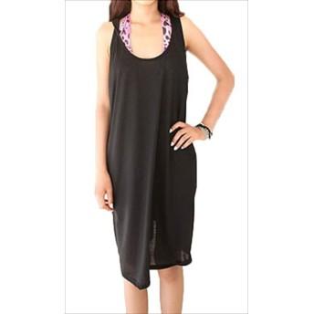[パンダファミリー] ビーチドレス UVカットビーチウェア オーバーウェア ビーチワンピース ブラック リボンタイプ