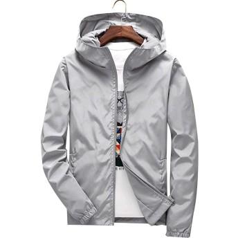 KAWA KANA メンズ ジャケット 軽量 男女兼用 ウィンドブレーカー スポーツウェアジャンバー コート 防風大きいサイズ S~7XL全 8色 (2XL, グレー)