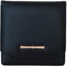 HonkTai レディース財布、高級PUレザー 財布、二つ折り財布、スタイリッシュな女性用財布 - S(ブラック)