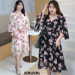 FUWAFUWA-  加大尺碼玫瑰花印花雪紡短袖洋裝