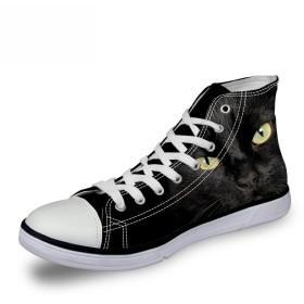 [FOR U DESIGNS]個性的なデザイン キャンバス スニーカー レースアップ シューズ canvas shoes ハイカット メンズ レディース 黒猫