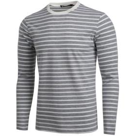 Allegra K メンズ ボーダー tシャツ カットソー 長袖 ストライプ クルーネック コットン カジュアル グレー ホワイト S/36