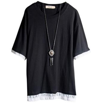 Tシャツ メンズ 半袖 無地 原宿風 パーカー おしゃれ 大きいサイズ カットソートップス ゆったり カジュアル プルオーバー