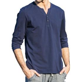 Pioneer Campメンズ Vネック 長袖Tシャツ ロングシャツ クルーネックレイヤード無地半袖Tシャツ ヘンリーネック カットソー (#1-ダークブルー, M)