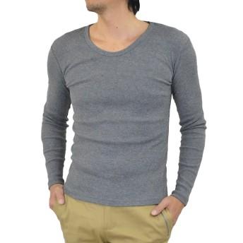 (アダマス)ADAMAS Tシャツ メンズ 長袖 無地 Vネック Uネック テレコ XL Uネック・杢チャコール