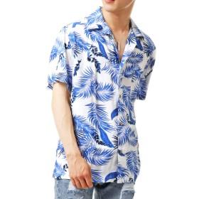 [トップイズム] アロハシャツ メンズ 半袖 カジュアル シャツ 7-ホワイト Lサイズ