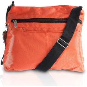 SUVELLÉ レディース 軽量古典的な旅行のクロスボディバッグマルチポケットショルダーバッグ ワンサイズ オレンジ