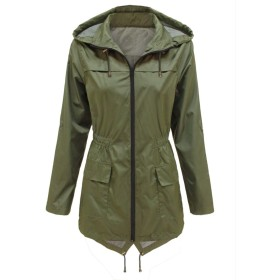 Wanghong レディーズロングコート丈フード付きジャケット ミリタリーコート ウインドブレーカー 春 秋 軽量 防風 撥水