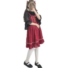 [セイーワイ] ドレス ロリータ ワンピース シフォン レディース ドレス ロリータ ジャンパースカート甘め アレアスーカートノースリーブ 膝丈 メイド ワインレッドF