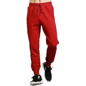 Wohthops メンズ スエットパンツ ジョガー ロングパンツ ズボン 運動 薄手 通気 軽量 パンツ ルームウェア おしゃれ レッド L