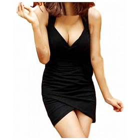 (R-Dream) ボディコン ミニ ワンピース ドレス セクシー 深Vネック カシュクール エレガント タイト キャバドレス キャバ嬢 sexy mini dress (ブラック)