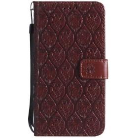 Huawei P20 Lite/Nova 3e 手帳 ケース、カードスロットフリップケース付きエンボス籐のパターン、ビジネスシンプルなケース+スタイラス- ブラウン