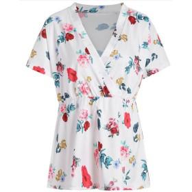 Honghu レディース ゆったり Vネック 半袖 プリント Tシャツ 5XL ホワイト
