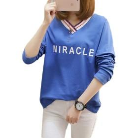 GergeousTシャツ レディース 長袖 トップス Vネック カットソー プルオーバー トップス 大きいサイズ韓国ファッション 長袖 tシャツ 白 ブルー(Fブルー)