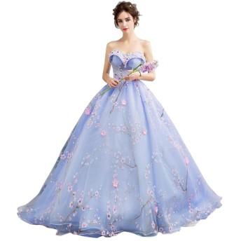 hanamaya 花柄 ブルー 結婚式ドレス レースワンピース ロング丈 袖なし ふんわり ベルト付き 裏地あり 豪華 お呼ばれ 二次会ドレス (L)