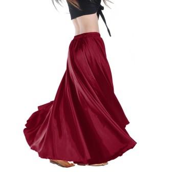 プロフェッショナルベリーダンススカートサテンファブリックフラメンコスカートピュアカラーフリーサイズ (ワイン)