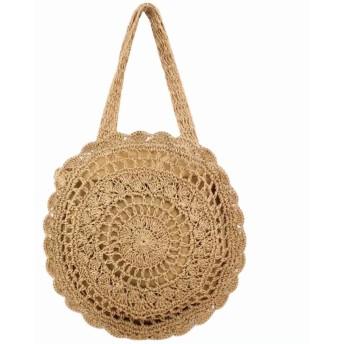 EASONDDD サークル かごバッグ 丸型 かぎ針 編み ショルダーバッグ ハンドバッグ レディース 斜めがけ 鞄 おしゃれ ナチュラル カジュアル リゾート ビーチ 夏 海