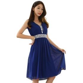 [sweet bell] パーティードレス 結婚式 お呼ばれ ドレス ワンピース レディース きれいめ ブルー 青 FREEサイズ