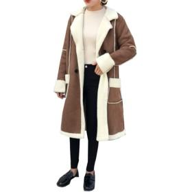 (グードコ) ムートンコート レディース スプリングコート ロング 防寒ジャケット カジュアル 無地 通学 通勤 ヴィンテージ カーキL