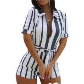 Qiangjinjiu Women Deep V Neck Short Sleeve Zip Up Playsuit Stripe Bodycon Clubwear Shorts Jumpsuit White M