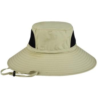 [CAIXINGYI] アドベンチャーハット テンガロンハット 帽子 つば広 軽薄 日除け 紫外線対策 あご紐付き アウトドア 釣り ハイキング 登山 レギュラーサイズ 59-62cm 大きめ ビッグサイズ 63-65cm サファリハット メンズ (カーキ, 頭囲62-65cm)
