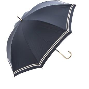 傘 レディース 日傘 UVカット 遮光遮熱 晴雨兼用 超軽量 50cm ボーダー かわいい a.s.s.a (FL090/ネイビー)