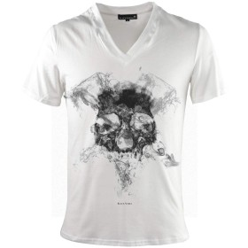 Tシャツ Vネック スカル ドクロ 骸骨 煙 スモーク プリント 半袖Tシャツ メンズ ホワイト白 zkk047 M