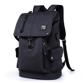 メンズ リュックサック キャンバス USBポート付き 通勤 通学 ビジネス 大容量 防水 軽量 バックパック(黒) ブラック金曜日