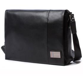 MINIBA ショルダーバッグ 柔らかい本革 牛革 レザー メンズ 蓋付き ビジネスバッグ メッセンジャーバッグ ブラック 通勤 出張A4書類鞄