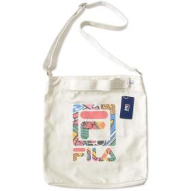 FILA フィラ ショルダーバッグ カバン キャンバス オリジナルボタニカル柄ロゴ (FDH005) O/S WHITE