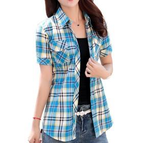 [美しいです] 女性 シャツ 短袖 綿麻  ゆたっり チェック 春 夏 秋 冬 タイト ボタン ポケット (XL, ブルー1)