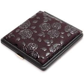 印傳屋 印伝 レディース ミラー 5015 日本製 (国産) レザー コスメ 化粧 (和風 和柄) ギフトに。 (ローズ (紫×黒))