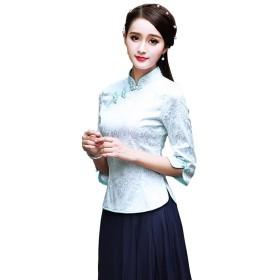 Shenguang チャイナ服 ブラウス 七分袖 チャイナトップス チャイナボタン 花柄 中国風上着 カットソー (XXL)