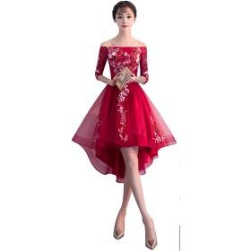 刺繍レース フィッシュテール ワンピースドレス