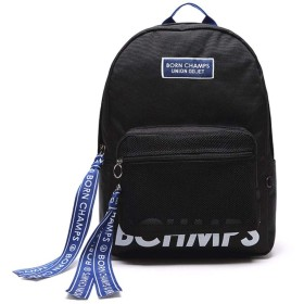 Bornchamps X Unionobjet BC Tape Mesh Pocket Black Backpackユニオンオブジェリュックバッグバックパック大容量旅行通学遠足ユニセックスバッグ多機能バッグ(海外直送)