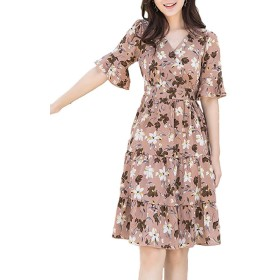 JOMISS 花柄 フリル カシュクール ワンピース 大人 可愛い 半袖 切り替え ワンピ M ~ XL レディース (カーキ, XL)