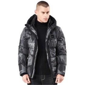 [ユリカー] メンズ 綿コート ダウンジャケット ダウンコート 中綿入り アウター 迷彩柄 ショート丈 フード付き 軽い ファスナー 防寒 冬服 カジュアル ファッション カモフラAXL