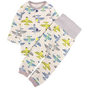 パジャマ ベビー 赤ちゃん 男の子 綿100% 飛行機柄 腹巻き 長袖 上下セット グレー 90cm