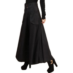 ELPIS レディース スカンツ 極太 ワイド パンツ スカーチョ 大きめ サイズ 豊富 3色 ブラック XXL