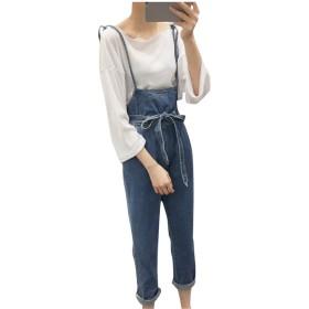 YINUO レディース サロペット デニム パンツ ジーンズ ゆったり 大きいサイズ おしゃれ 古着 かわいい オーバーオールブルーM