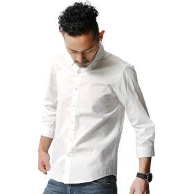 [オーディエンス] 7分袖シャツ カジュアルシャツ シャツ 七分 国産 メンズ ホワイト オックス M サイズ