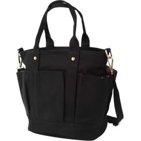 (SOWAKA) 帆布 トートバッグ レディース キャンバス 2way ファスナー 付き 自立 バッグ (ブラック)
