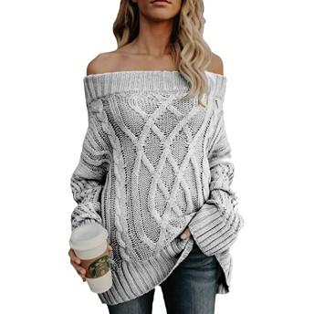 レディース セーターは 肩プルオーバー暖かい厚いルーズジャンパーオフ Grey XL